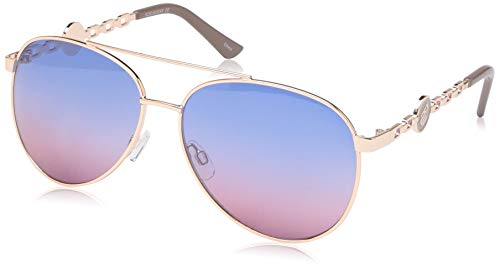 Rocawear Women's R3297 Rgdnd Non-Polarized Iridium Aviator Sunglasses, Rose Gold Nude, 60 mm