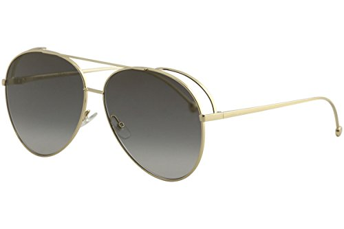 Fendi Women's FF0286/S FF/0286/S 8J5G/FQ Gold Fashion Pilot Sunglasses - Fendi Designers