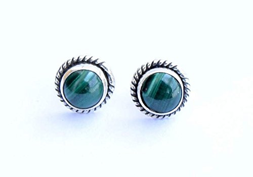 - 925 Sterling Silver Green Malachite Stud Post Earring Gemstone Earring 6 MM Round Girl Women Gift