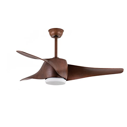 FXY 52 inch LED Ceiling Fan with Lights & Remote Control Dark Brown Propeller Blades Ceiling Fan with Sloped Ceiling Kit for Bedroom Living Room Lofts Gazebo Dinging Room, AC 35W