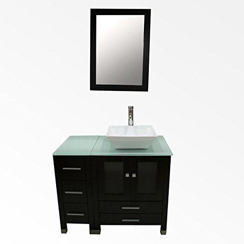 WALCUT 36Inch Wide Bathroom Vanity Single Vessel Sink W Mirror Set, 36