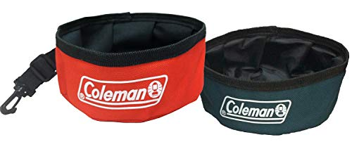 Coleman Collapsible Waterproof Travel Bowl for Dogs (2 Pack), Red/Green'