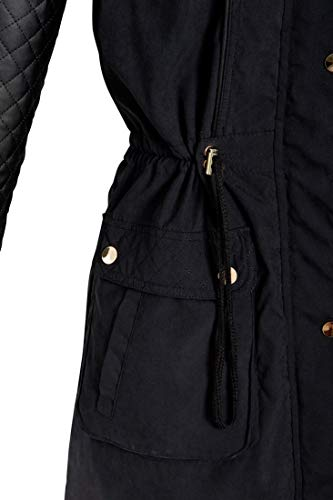 Cuir En 44 Padded Manteau Faux Femme Fourrure Matelassée Fausse Noir Ss7 Coat Taille Capuchon 36 qw1gcct0