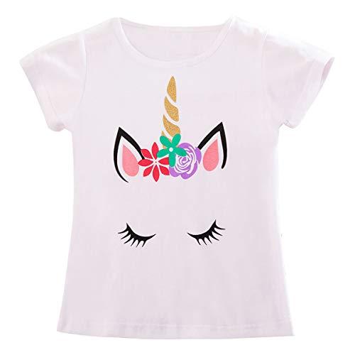 TTYAOVO Meisjes Eenhoorn Korte Mouw Verjaardag Party T-Shirt