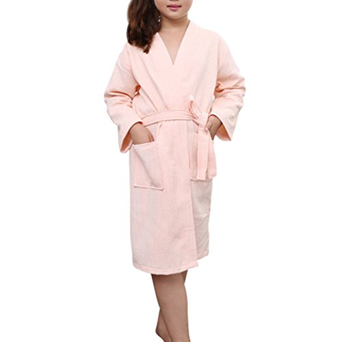 YISUMEI Child's Pajamas Bathrobes Cotton Bathrobe Plush Robe Pink Medium