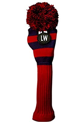 Majek Lob Wedge (LW) Hybrid Rescue Utility Red & Blue Golf Headcover Knit Pom Pom Retro Classic Vintage Head Cover