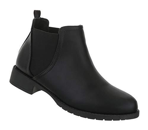 Leder Schwarz Schuhe Damen Blockabsatz Optik 36 Boots Stiefeletten Kurze Ankle 41 Booties Stiefel Flache SOr18nqO