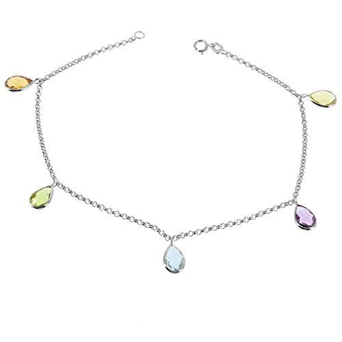 14K White Gold Gemstone Anklet Bracelet With Hanging Gemstones 9 -11 Inches -