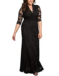 Dilanni Women's Plus Size Lace V-Neck Bridal Evening Party Long Dress