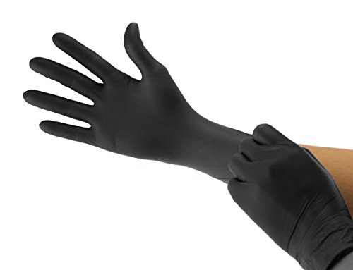 Cranberry USA CR3237case Carbon Powder Free Exam Gloves, Medium, Nitrile, Beaded-Cuff, Black (Pack of 2000) by Cranberry USA (Image #1)