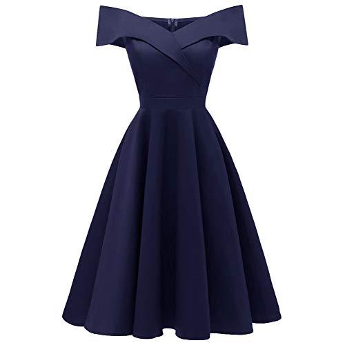 Spalla Abito Lunghe A Deep Con Donna Wdbxn V Blue Maniche In Cotone Elasticizzato Scollo Elegante Da dfInx4wCq