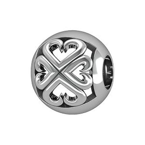 1001Bijoux–charms deslizante plata rhodié bola calada diseño de corazones