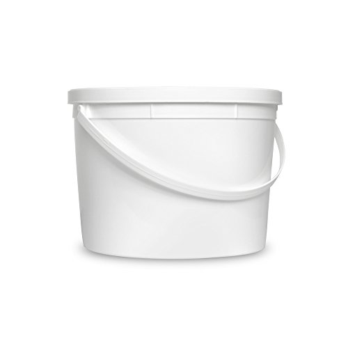 1 Gallon Janitorial White Plastic Bucket with Lid - All Purpose Sanitation Supplies Pail - Multi-Purpose Industrial Buckets (Pack of 30)
