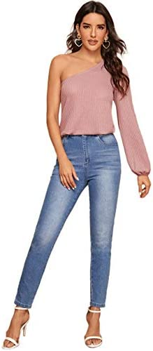 SheIn Women's Casual One Shoulder Bishop Long Sleeve Blouse Solid Shirt Top
