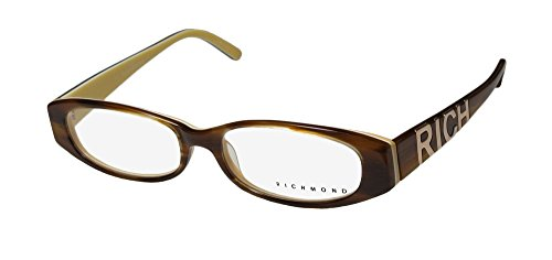 John Richmond 03204 Mens/Womens Oval Full-rim Eyeglasses/Glasses (52-16-140, Brown Horn / - Glasses Richmond