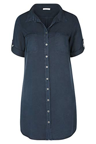 Damen Größen PAPRIKA Hemdkleid Marine aus Große Lyocell vwExE1d