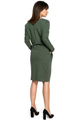 Langen der und Clea Taille Grün Gummiband in mit Kleid Ärmeln qCnx6wO0