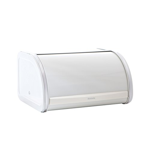 Brabantia Roll Top Bread Bin, Steel, White, 26.5 x 31.6 x 17