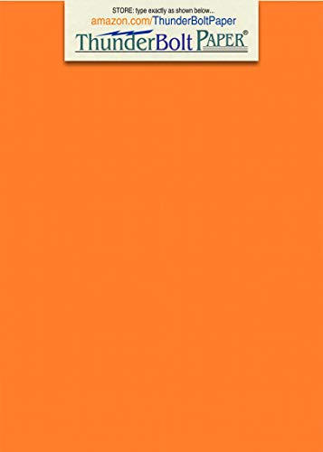 50 Bright Orange Color Cover/Card Paper Sheets - 5 X 7 Inches Photo|Card|Frame Size - 65# (65 lb/pound) Light Weight Cardstock - Quality Printable Smooth Paper Surface for Bright Colorful Results (Card Stock Document Frames)