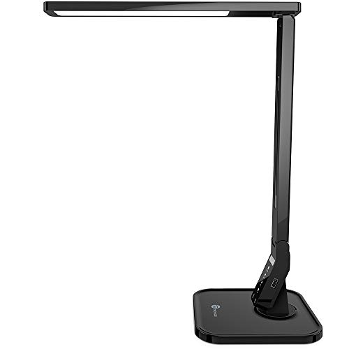 TaoTronics LED Desk Lamp with USB Charging Port, 4 Lighting Modes with 5 Brightness Levels, 1h Timer, Touch Control, Memory Function, Black, 14W, Official Member of Philips EnabLED Licensing Program ()