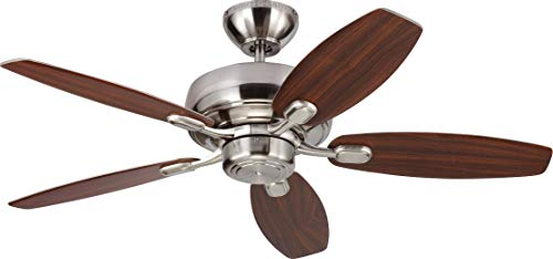 Monte Carlo 5CQM44BS Centro Max II Dual Mount 44 Ceiling Fan with Pull Chain, 5 Blades, Brushed Steel