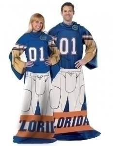 NCAA Florida Gators Adult Player Uniform Comfy Throw Blanket with Sleeves, 46