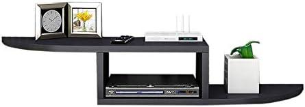 Xyanzi-DVDラック セットトップボックスシェルフウォールマウントシェルフ壁面装飾ルーター収納ラック無垢材、4色 機能的な収納棚 (色 : Arc black)