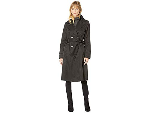 Via Spiga Women's Double Breasted Belted Long Trench Black Large