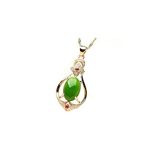 14k Gold Natural Green Jade Good Fortune,Longevity Script Pendant Necklace (Gold Green Natural 14k)