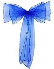 Organza krzesło szarfy na ślub bankiet przyjęcie dekoracja krzesła kokardki krawaty niebieski i od Mednkoku