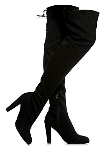 - Women's Over The Knee Boots - Sexy Blake Drawstring Stretchy Pull on - Comfortable Block Heel Black SU 7
