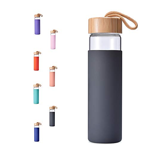 Yomious Borosilicate Glass Water Bottle with Bamboo Lid and Silicone Sleeve - 20 oz - BPA Free - Eco Friendly and Reusable - Leak Proof Design - Carry Strap Built Into Lid (Charcoal Grey)