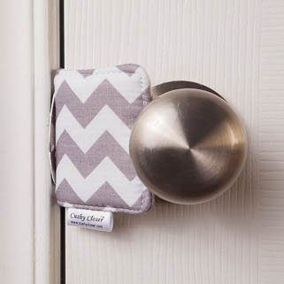 The Original Cushy Closer Door Cushion- Chandler Gray - Chevron | No More Noisy Doors! | Door Latch Cover- Baby Safety for Quiet Doors-3.5 x 5.5