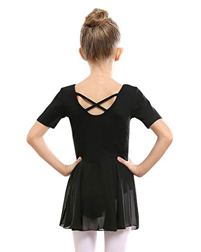 STELLE Girls Ballet Short Sleeve Dress Leotard for Dance, Gymnastics and Ballet(Toddler/Little Girl/Big Girl)