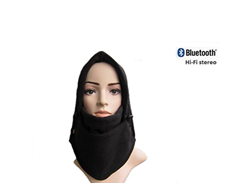 Deron Outdoor Ski Full Face Mask Windproof Mask with Bluetooth Neck Warmer Mask Hat Wireless Hi-Fi Stereo Headphone (black)