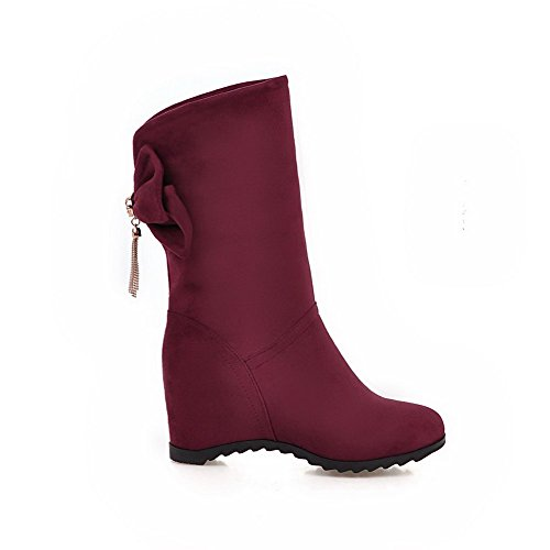 Round Women's High AgooLar Boots Toe Heels Solid Closed Suede Low Imitated Top Claret 5gxCqdHwC