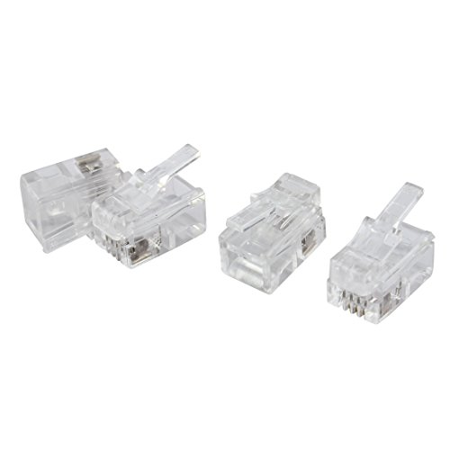 uxcell 4 Pcs 4 Pin RJ10 4P4C Connector Clear for Handset Cable