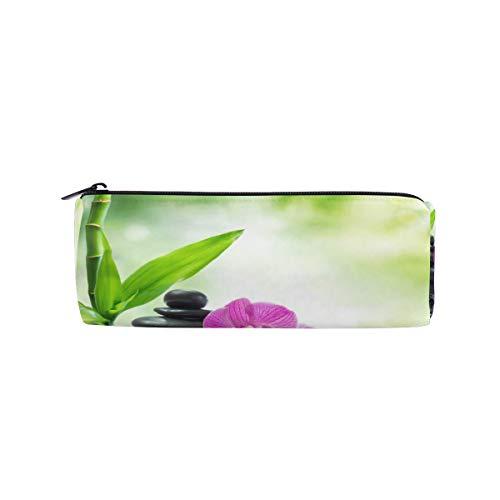 - Pencil Case Pencil Bag Round Landsacpe Spring Stone Bamboo Makeup Bag Pouch Case Cosmetic Travel School Bag