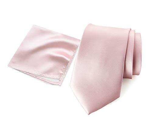 Spring Notion Men's Solid Color Satin Microfiber Regular Tie and Hankerchief Set Blush Pink