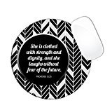 Proverbs 31:25 Bible Verse Chevron Pattern Black And Grey Color Mouse Pad (ROUND)