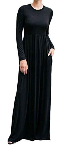 Domple Womens Manches Longues Élégante Balançoire Robe Maxi Taille Haute Avec Des Poches Noires