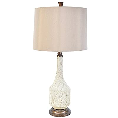Cressida Crème Deluxe Finish Ceramic Table Lamp 29 Inches Tall Tan Silk Shade