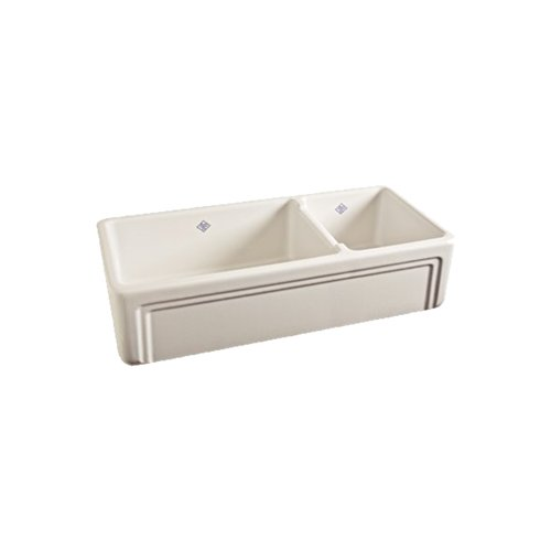 Rohl RC4018BS Shaws 40-Inch Double Basin Farmhouse Fireclay Kitchen Sink with Decorative (Rohl Farm Sink)