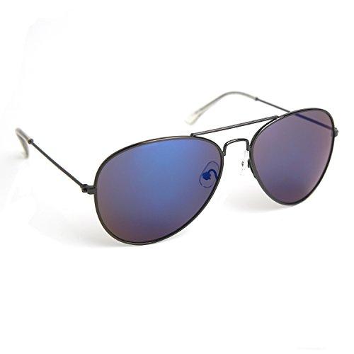 JOOX Classic Metal Aviator Sunglasses Protection Colored Lens (Shiny gun metal/blue revo, - Blue Sunglasses Men Aviator For
