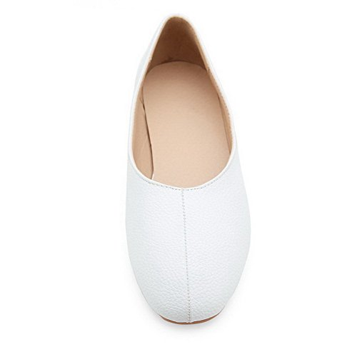 Odomolor Women's Low-Heels PU Solid Pull-On Round-Toe Pumps-Shoes, White, 32
