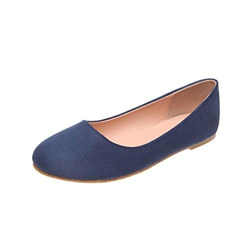 OCHENTA Bailarinas Mujer Plano Moda Simple Casual Azul