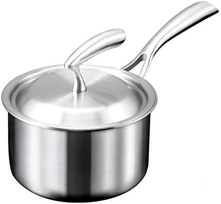 スープ鍋ステンレス鋼ストック鍋加熱ミルクポットミニ麺ポットキッチンポットポット給餌ポット (Color : 18X18X10CM)