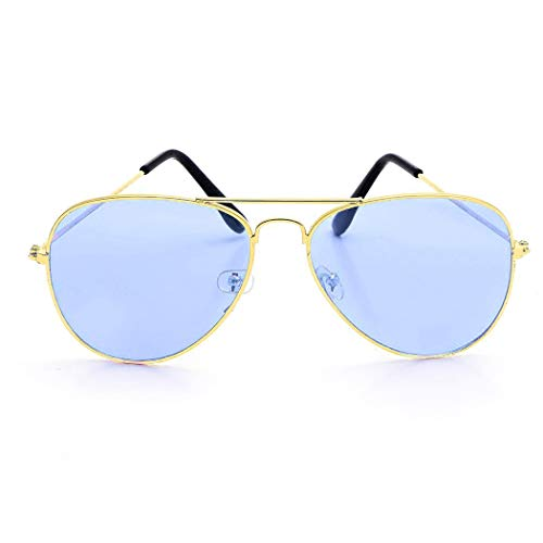Style 10 Unisexe Jaune de Casual Alloy Couleur Lunettes Frame Murieo Rétro soleil Fashion Bleu et qE6wxZ0