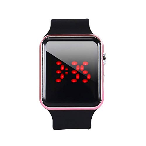XVSESES Digital Led Sport Watch for Men Women and Kids with LED Screen Luminous Large Face for Sports in Black Silicone Band Fashionable Design (Rose Gold) (Touch Watch)