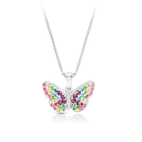 Pastel Rainbow Crystal Monarch Butterfly Pendant Necklace for Women & Girls, Never Rust 925 Sterling Silver Natural & Hypoallergenic Chain with Free Breathtaking Gift Box for a Special Moment of Love - Rainbow Butterfly Necklace